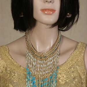 Name Brand Seed Beed Fringe Statement Necklace